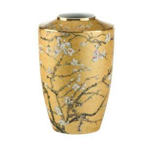 """Фарфоровая ваза """"Цветущие ветки миндаля""""цвет золотой, декорирована золотом."""
