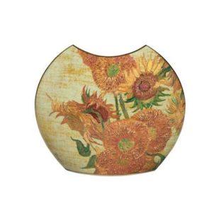 """Фарфоровая ваза """"Подсолнухи"""", декорирована золотом."""