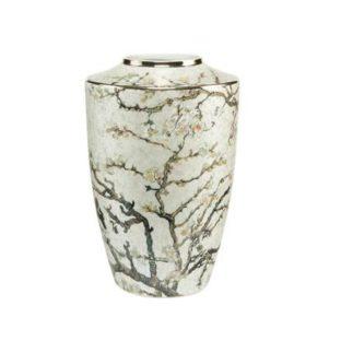 "Фарфоровая ваза ""Цветущие ветки миндаля""цвет серебро, декорирована серебром."