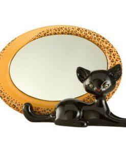 """Фарфоровое овальное зеркало """"Леопард Китти"""" 27.5 см х 17 см"""