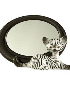 """Фарфоровое овальное зеркало """"Зебра Китти"""" 27.5 см х 17 см"""
