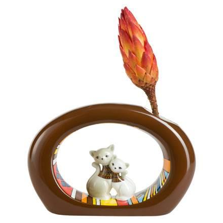 """Фарфоровая ваза """"Африканские кошечки"""" , высота 12,5 см (без цветка)"""