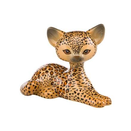 """Фарфоровая статуэтка """"Отдыхающий леопард"""" , высота 10,5 см"""