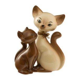 """Фарфоровая статуэтка """"Влюбленные сиамские кошки"""" , высота 18 см"""
