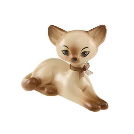 """Фарфоровая статуэтка """"Отдыхающая сиамская кошка"""" , высота 10,5 см"""