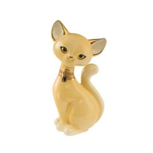 """Фарфоровая статуэтка """"Палевая бурманская кошка"""", декорирована золотом и голубым кристаллом Swarovski , высота 18 см"""