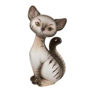 """Фарфоровая статуэтка """"Полосатый кот"""" , высота 18 см"""