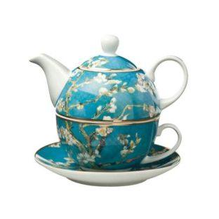 """Фарфоровый набор чайник-чашка """"Цветущие ветки миндаля"""" 350 мл"""