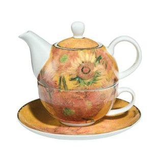 """Фарфоровый набор чайник-чашка """"Подсолнухи"""" 350 мл"""