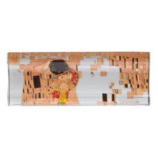 """Стеклянный лоток """"Поцелуй"""" , декорирование золотом, 26 см х 10 см"""