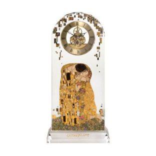 """Стеклянные настольные часы """"Поцелуй"""", декорированы золотом"""