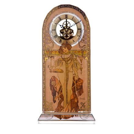 """Стеклянные настольные часы """"Осень 1900"""", декорированы золотом"""