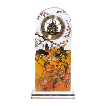 """Стеклянные настольные часы """"Попугаи"""", декорированы золотом"""