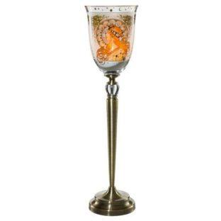 """Стеклянный подсвечник на металлической ножке """"Зодиак"""", декорирован золотом, в наборе свеча и песок"""