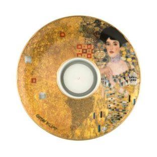 """Фарфоровый подсвечник в подарочной упаковке """"Адель"""", декорирован золотом, свеча в комплекте"""