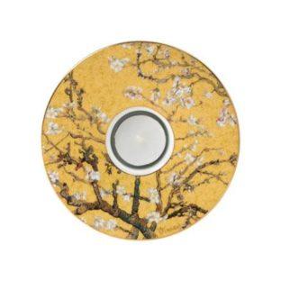 """Фарфоровый подсвечник в подарочной упаковке """"Цветущие ветки миндаля"""", цвета фона золотой, декорирован золотом, свеча в комплекте"""