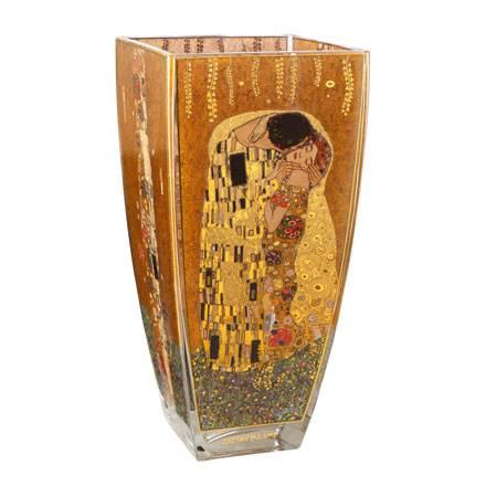 """Стеклянная ваза """"Поцелуй"""", декорирована золотом"""