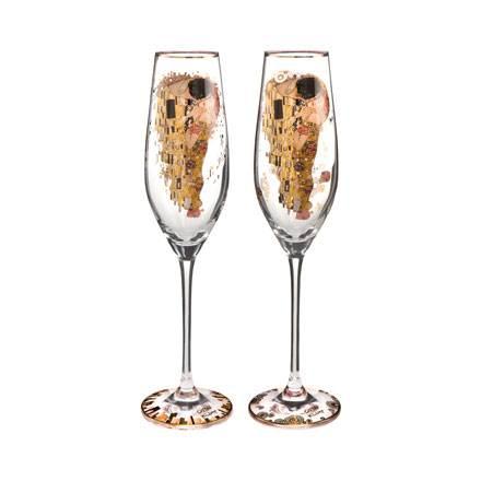 """Набор из 2 бокалов для шампанского """"Поцелуй"""" 100 мл, декор золото. Лимитированный выпуск 4999 шт сертификат"""