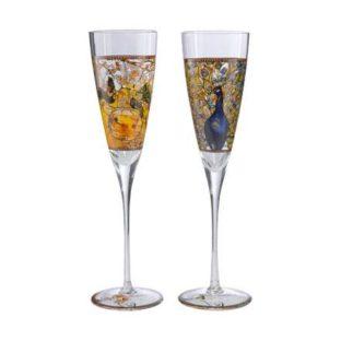 """Набор из 2 бокалов для шампанского в подарочной упаковке """"Попугаи/Павлин"""" 200 мл, декор золото. Лимитированный выпуск 999 шт сертификат"""