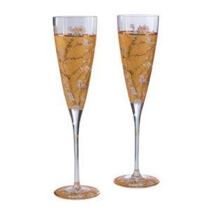 """Набор из 2 бокалов для шампанского в подарочной упаковке """"Цветущие ветки миндаля"""" 200 мл, декор золото. Лимитированный выпуск 1999 шт сертификат"""
