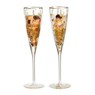 """Набор из 2 бокалов для шампанского в подарочной упаковке """"Поцелуй/Адель"""" 200 мл, декор золото"""