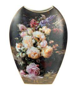 "Фарфоровая ваза ""Натюрморт с розами"", декор золото"