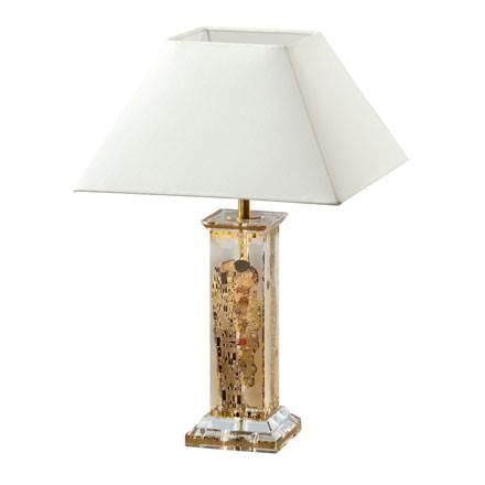 "Стеклянная настольная лампа с абажуром ""Поцелуй"", декор золото"