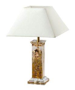 """Стеклянная настольная лампа с абажуром """"Адель"""", декор золото"""