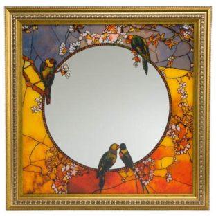 """Зеркало настенное """"Попугаи"""", декор золото"""