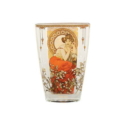 "Стеклянная ваза ""Топаз"", декор золото"