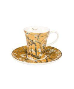 """Набор для кофе """"Цветущие ветки миндаля"""" фон золото, чашка демитассе 100 мл, блюдце"""