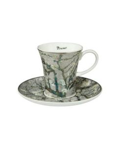 "Набор для кофе ""Цветущие ветки миндаля"" фон серебро, чашка демитассе 100 мл, блюдце"