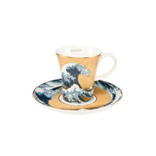 """Набор для кофе """"Большая волна"""" фон золото, чашка демитассе 100 мл, блюдце"""