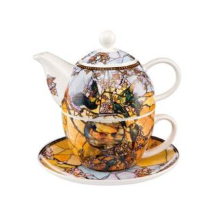 """Набор чайник-чашка """"Попугаи"""" фарфор 350 мл"""