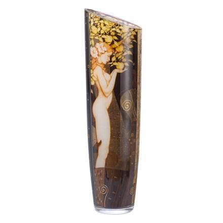 """Стеклянная ваза """"Золотой змей"""", декор золото"""