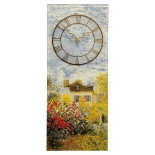 """Настенные стеклянные часы """"Дом художника"""", декор золото"""