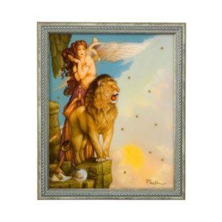 """Стеклянная картина """"Возвращение льва"""", декор золото. Лимитированный выпуск 500 шт., сертификат"""