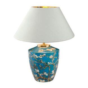 """Настольная фарфоровая лампа с абажуром """"Цветущие ветки миндаля"""", декор золото"""
