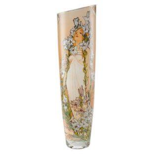 "Стеклянная ваза ""Лилия"", декор золото"