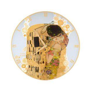 """Стеклянные настенные часы """"Поцелуй"""", декорированные золотом"""