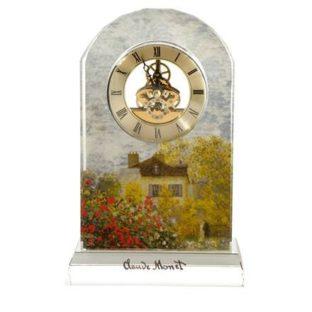 """Стеклянные настольные часы """"Дом художника"""", декор золото"""