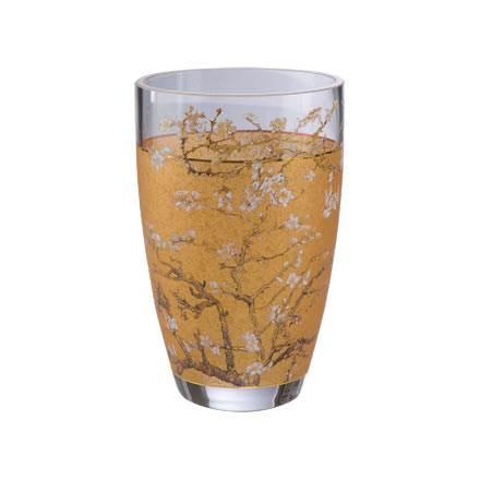 """Стеклянная ваза """"Цветущие ветки миндаля"""", декор золото"""