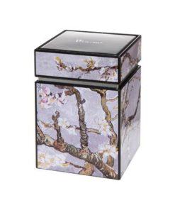 """Металлическая коробка для хранения """"Цветущие ветки миндаля"""" фон серебро"""