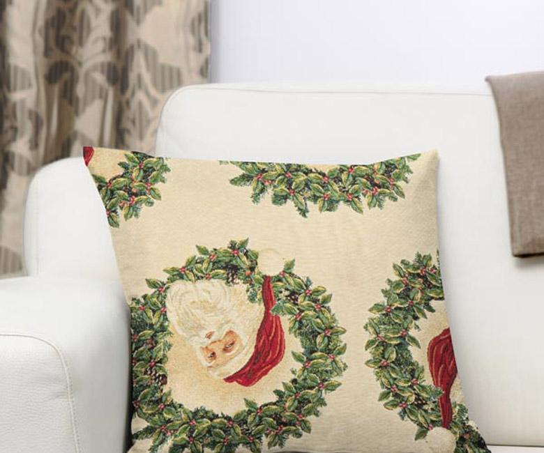 """Новогодняя гобеленовая прямоугольная и круглая скатерть """"Санта Клаус"""""""