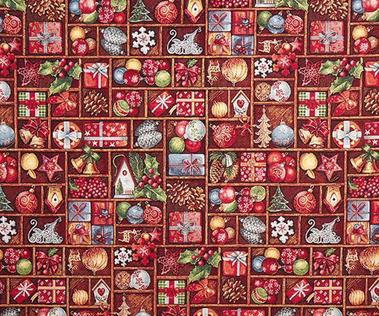 """Новогодняя гобеленовая прямоугольная и круглая скатерть """"Новогодние подарки"""""""