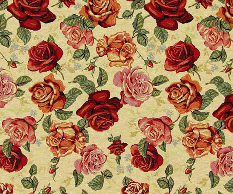"""Гобеленовая прямоугольная и круглая скатерть """"Ассорти из роз"""" кремовый и темный фон"""