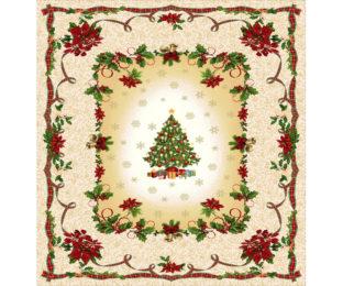 """Новогодняя гобеленовая скатерть с люрексом """"Рождественская елочка"""""""