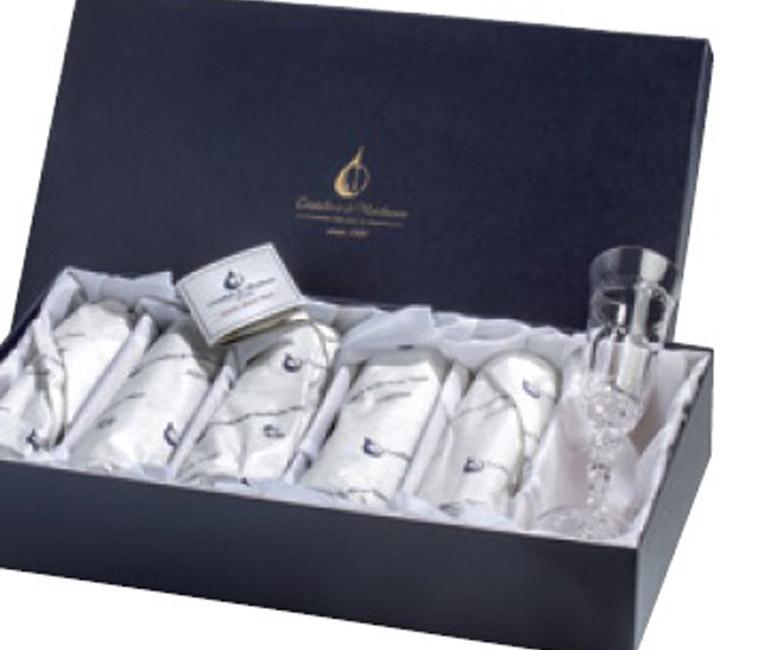Набор хрустальных стопок для водки на 6 персон Спиккато, инкрустация золото с платиной