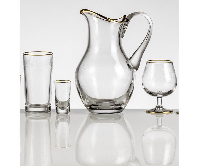 Хрустальный кувшин для воды 1 л Адажио с прозрачной гравировкой