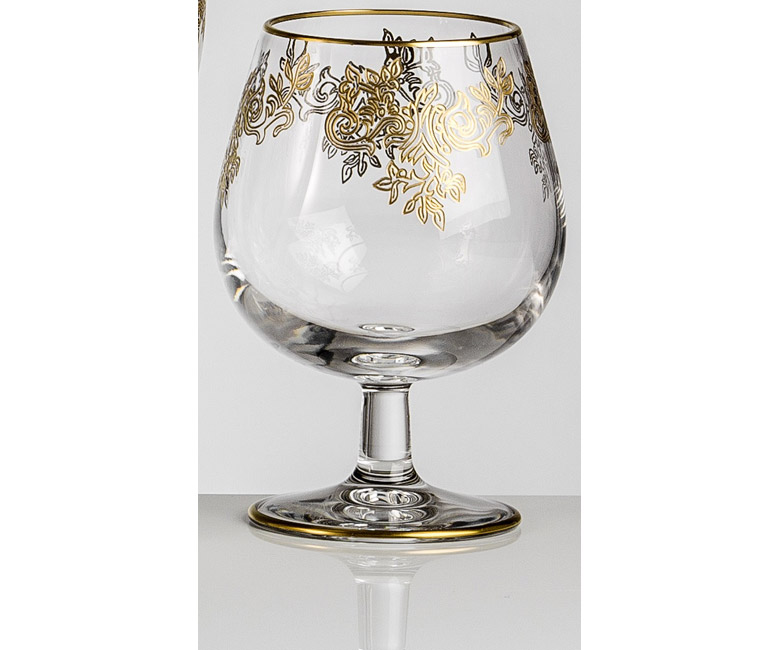 Набор хрустальных бокалов для бренди, коньяка на 6 персон Адажио Золото|Платина